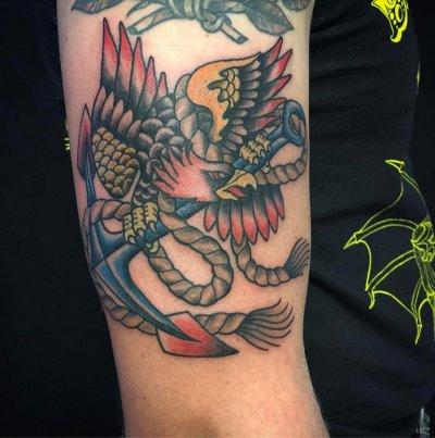 anchor eagle tattoo design