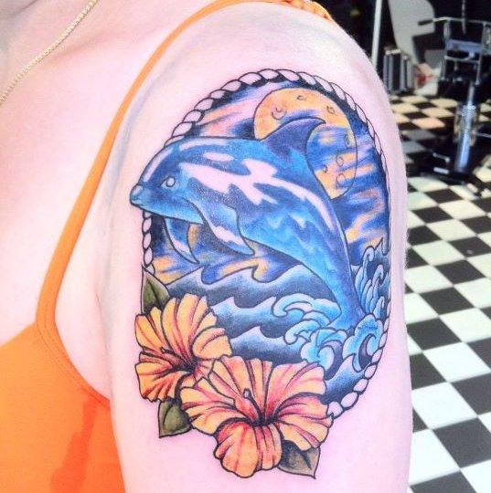 Beautiful dolphin tattoo